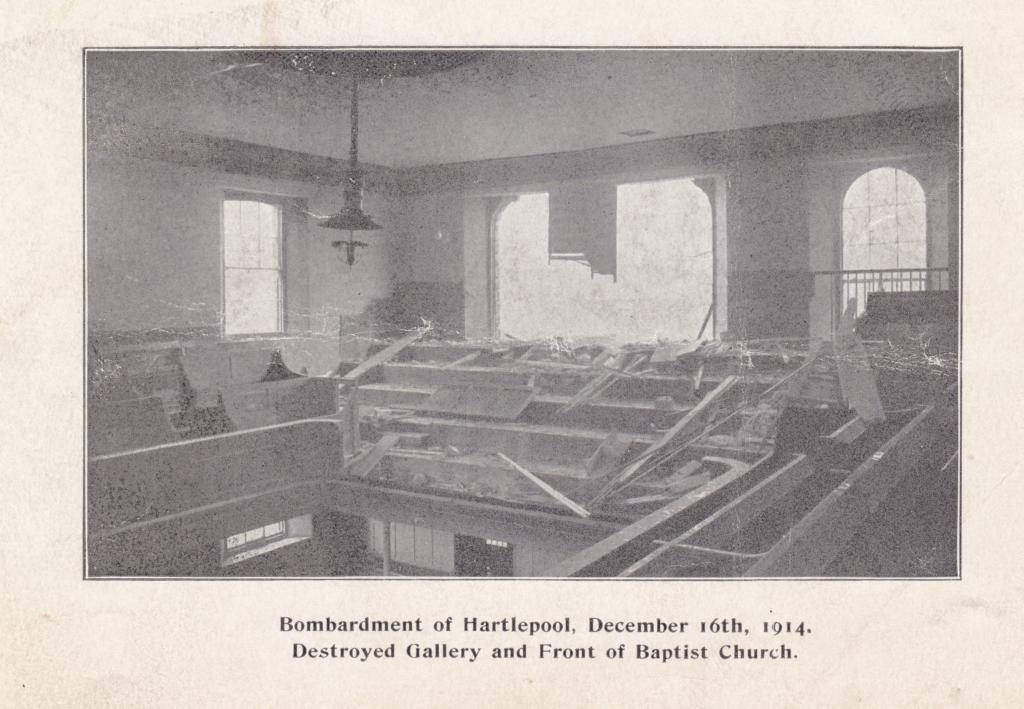 View from Gallery showing damage caused by the shells entry through the front of the Chapel.