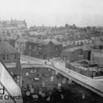 A view from St Hilda's Church Steeple showing the area to the right of the grave yard where the orignal chapel stood.